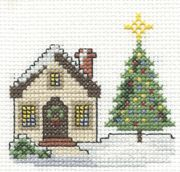 DMC Christmas Scene - Includes links to many other DMC Cross Stitch projects Cross Stitch House, Xmas Cross Stitch, Cross Stitch Needles, Beaded Cross Stitch, Cross Stitch Charts, Cross Stitch Designs, Cross Stitching, Cross Stitch Embroidery, Cross Stitch Patterns