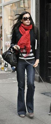 Business casual work outfit: black and white striped top, black blazer, red scarf, trouser jeans. Casual Fridays.