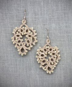 Sarafina Earrings - Bridal Earrings, Bridal Jewelry, Bridal Accessory, Tatting, Tatted Jewelry, Lace Jewelry