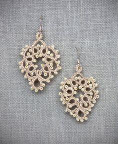 Sarafina orecchini - orecchini da sposa, gioielli da sposa, sposa accessorio, chiacchierino, Tatted gioielli, gioielli di pizzo