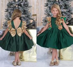 Emerald Green Flower Girls Dresses With Bow Knot Sequins Backless Satin Girls Pageant Gowns Knee Length Sleeveless First Communion Wear Flower Girl Dress Cinderella Dress Girls Pageant Dress Online with $99.43/Piece on Kazte's Store | DHgate.com