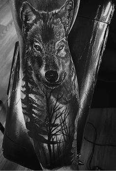 Tattoo, tattoos, wolf tattoo, wolf tattoos, realistic tattoos, animal realism, black and gray tattoo, sleeve tattoo, forearm tattoo, black and white photography, black and gray photo