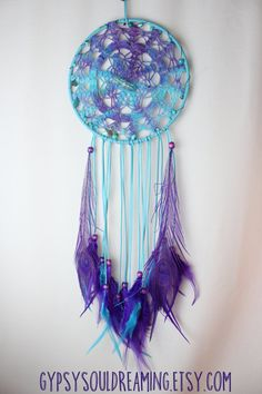 Turquoise and Purple Dream Catcher with a Dyed Vintage Doily, Aqua Aura Quartz, and Peacock Feathers
