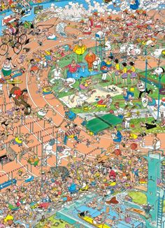 Jan van Haasteren: XXL Sportdag (252 Stukjes) Picture Story For Kids, Colourful Semantics, Wheres Wally, Picture Writing Prompts, Puzzle Art, Cartoon Art Styles, Picture Description, Detail Art, Illustrations And Posters