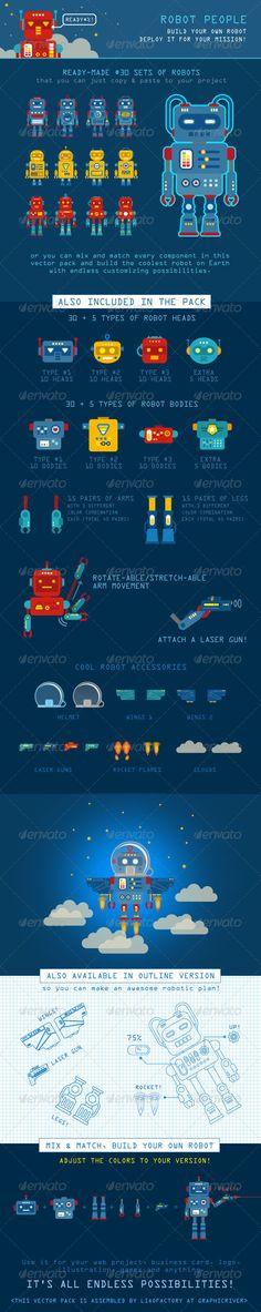 Robot People Character Design Vector Pack.