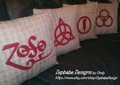 "Led Zeppelin Four Symbols Black&White Pillow Case Set with Red Symbols Applique Handmade, one of a kind. 16""x16"" (pillow not included) Bottom weight cotton fabric with felt fabric symbols  https://www.etsy.com/listing/175944133/led-zeppelin-four-symbols-blackwhite?ref=shop_home_active_1"
