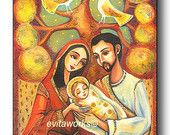 Religious Art, Folk Art Icon, Holy Family, Christian Art, Mary and Joseph, Tree of Life, Baby Jesus, Icon Painting - Print Mounted on Wood