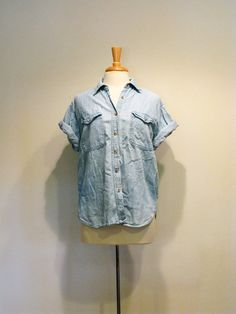 Vintage Ice Blue Denim Chambray Utility Shirt