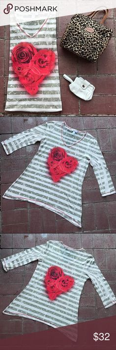 NEW Style & Co. Glitter🌹Rose Top! Style & Co. Glitter🌹Rose Top! NWOT, brand new embellished Glitter Rose top, pretty with a variety of jeans and slacks:) Style & Co Tops Tunics