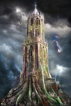 Surreal fantasy art work of the Dom in Utrecht