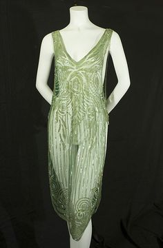 Beaded green flapper overdress, c.1925
