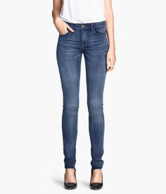 &DENIM. 5-pocket jeans in washed stretch denim with ultra-slim legs and a regular waist.