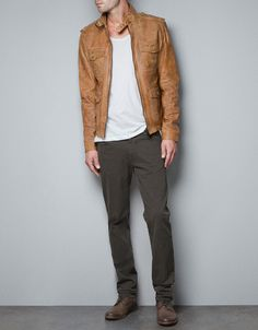LEATHER ZIP JACKET WITH POCKETS - Jackets - Man - ZARA United States