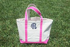 """The perfect and classic tote bag! Great for bridesmaids, running errands, or trip to the pool! Made of high quality canvas, zip closure, 1 outer pocket, 18"""" handle. Shown with circle monogram, can do"""