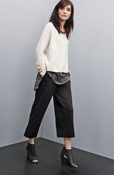 Eileen Fisher Sweater, Silk Shell & Crop Trousers available at #Nordstrom