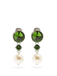 Faux-pearl and crystal clip-on earrings | Miu Miu | MATCHESFASHION.COM UK