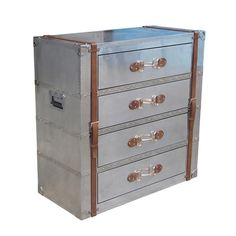 "56"" Karen Karl Chest Aluminum and Leather- lined canvas drawers Trunk Box Solid #WorldBazaarExotics"