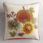 Embroidered Pumpkin & Sunflower Pillow