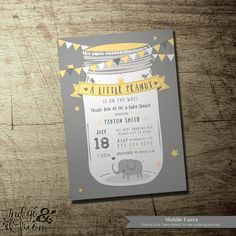 A Little peanut is on the way ! mason jar elephant baby shower party gray and yellow | gender neutral | invitation by IndigoAndOrion