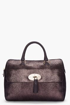 Mulberry Del Rey Metallic Fur Print Tote Bark Brown
