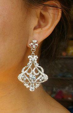 Red rose flower earring - weddings,bridesmaid,rose,tulip,brass,swarovski crystal,christmas,romantic,victorian,earrings $46.50