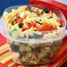 Rotini, chicken, olives, red onion, cucumbers, roasted red peppers, FF italian dressing...12 Pasta Dishes Under 500 Calories - Shape Magazine