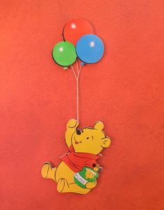 Silly Old Bear. Vintage Winnie the Pooh Bear Wall Hanging with Balloons - Pressboard