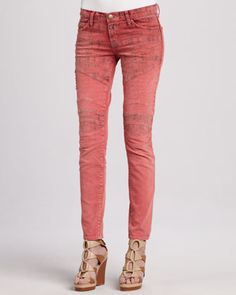 The Moto Coral Low-Rise Skinny Jeans by Current/Elliott at Neiman Marcus.