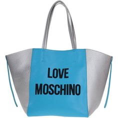 Moschino Handbag (565,330 KRW) ❤ liked on Polyvore featuring bags, handbags, azure, blue handbags, shopper handbags, print purse, handbags purses and two tone purse