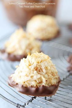 Salted Caramel Toffee Coconut Macaroons Dipped in Chocolate