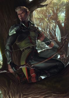 Commission: Vale (OC redesign) by ViciousJay on DeviantArt - m Half Elf Ranger Med Armor Longbow deciduous forest tree trail Vale (OC redesign) by ViciousJay Est - Elf Characters, Dungeons And Dragons Characters, Fantasy Characters, Ranger Rpg, Elf Ranger, Fantasy Character Design, Character Inspiration, Character Art, Elf Warrior