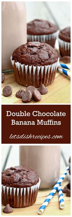 Double Chocolate Banana Muffins Recipe | These yummy muffins are perfect for a quick breakfast or an after-school snack. [ad]