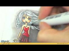 """Copic Markers - Coloring Black Flowing Hair - Rubber Stamp (good tips for coloring """"difficult"""" image - practice!)"""