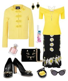 """spring yellow"" by yasmina33 on Polyvore featuring Boutique Moschino, Dolce&Gabbana, Sandro, Charlotte Olympia, Lucky Brand, Christian Dior, Guerlain and Dsquared2"