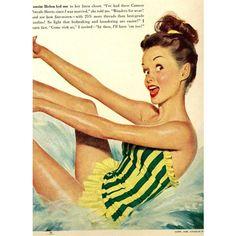 vintage pinup swimwear 1948 advertisement ($15) ❤ liked on Polyvore