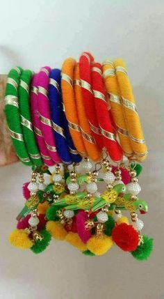 Diy bangles and pins Silk Thread Bangles Design, Silk Bangles, Bridal Bangles, Thread Jewellery, Fabric Jewelry, Beaded Jewelry, Antique Jewellery Designs, Handmade Jewelry Designs, Rakhi Design