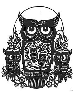 Five Owl Silhouette Handmade PDF Cross-Stitch Pattern