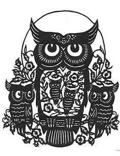 Five-owl-silhouette-handmade-pdf-cross