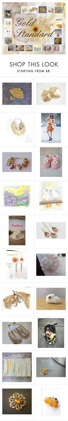 """Gold Standard: Handmade & Vintage Gift Ideas"" by paulinemcewen ❤ liked on Polyvore featuring Swarovski, Liz Claiborne and vintage"