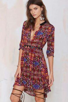 Carolina K Karen Silk Dress | Vintage Maroon Dress | Festival Style | Cute