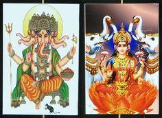 Panchamukhi Ganesha and Gajalakshmi - Set of Two Magnets (Poly Resin))