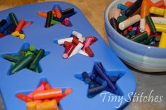 upcycled crayons so cute... Great use for old crayons and those stinkin silicone molds I just had to have!!