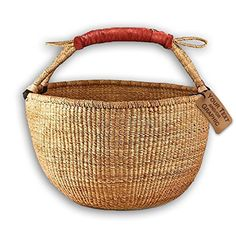 Bolga Market Tote Basket (Fair Trade) Natural Color XLarge w/ Leather Wrapped Handle