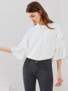 f6524c8123e Online shopping for Tiered Bell Sleeve Blouse from a great selection of  women s fashion clothing   more at MakeMeChic.