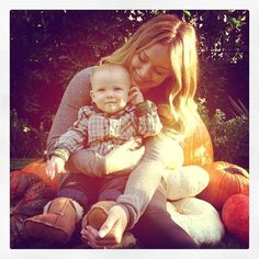 Hilary Duff shares a snap of her and Luca at the pumpkin patch!