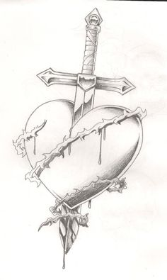 Sword bleeding rose tattoo – yahoo image search results - Lombn Sites Sad Drawings, Cool Art Drawings, Pencil Art Drawings, Art Drawings Sketches, Tattoo Drawings, Broken Heart Drawings, Broken Heart Tattoo, Drawings Of Hearts, Bleeding Rose