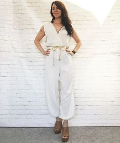 shiny tan gold color amazing Grecian style 70s catsuit size 8 small belted