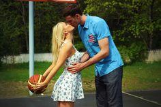 basketball engagement photoshoot