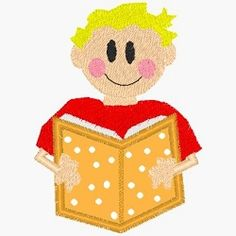Reading Boy Applique- 2 Sizes!   back-to-school   Machine Embroidery Designs   SWAKembroidery.com Band to Bow