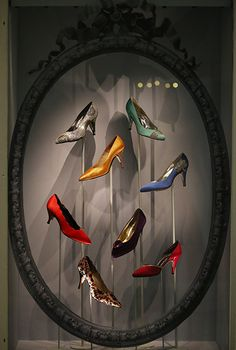 A collection of Rayne Shoes as shown in the Victoria and Albert Museum's exhibition, Ballgowns: British Glamour Since 1950 #shoes #1950s